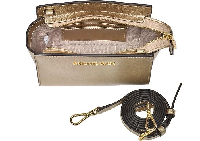 467d1803fc69 Pale Gold Metallic Saffiano Leather Selma Mini Messenger Bag - Michael Kors.  Sold Out