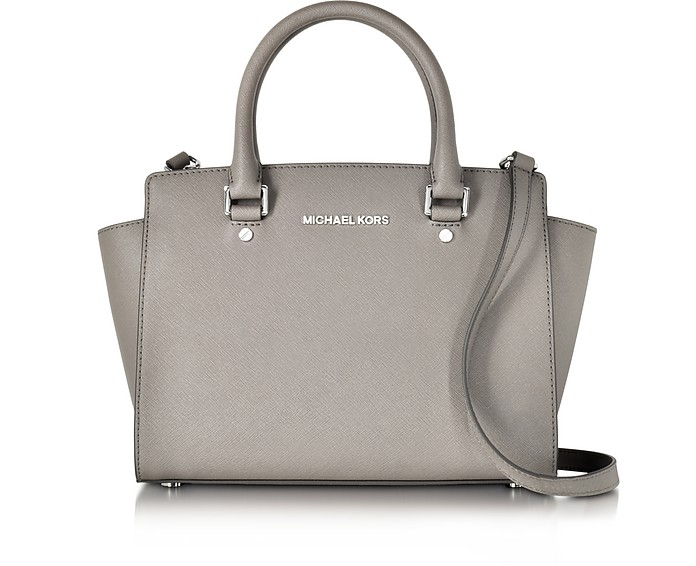 Pearl Gray Saffiano Leather Selma Medium T/Zip Satchel