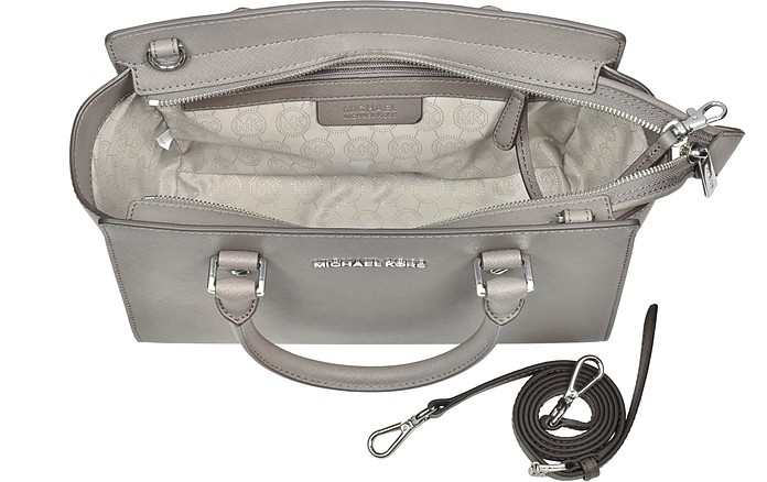 Michael Kors Pearl Gray Saffiano Leather Selma Medium T/Zip ...