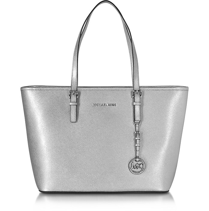 16b38e25e693 Michael Kors Jet Set Travel Silver Saffiano Leather Top Zip Tote at ...