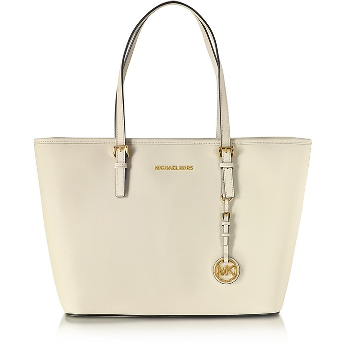 Jet Set Travel Shopper in Pelle Saffiano Ecru con Zip - Michael Kors