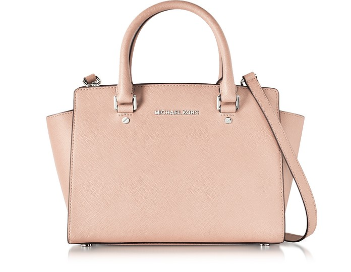 b85ab15453 Medium Selma Ballet Pink Saffiano Leather Top-Zip Satchel - Michael Kors