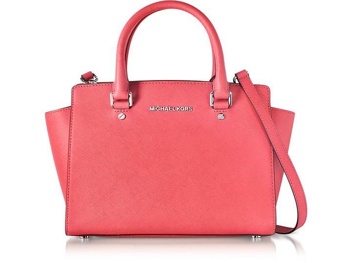 059a1dda237a Michael Kors Selma Coral Saffiano Leather Medium Top Zip Satchel Bag ...