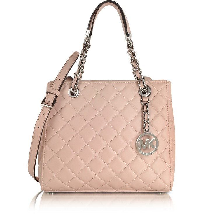 Susannah Small Ballet Pink Quilted Leather Tote  - Michael Kors