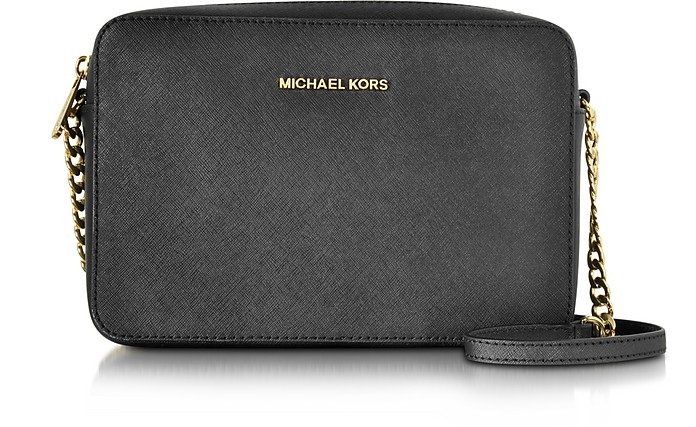Jet Set Black Large EW Saffiano Leather Crossbody Bag - Michael Kors
