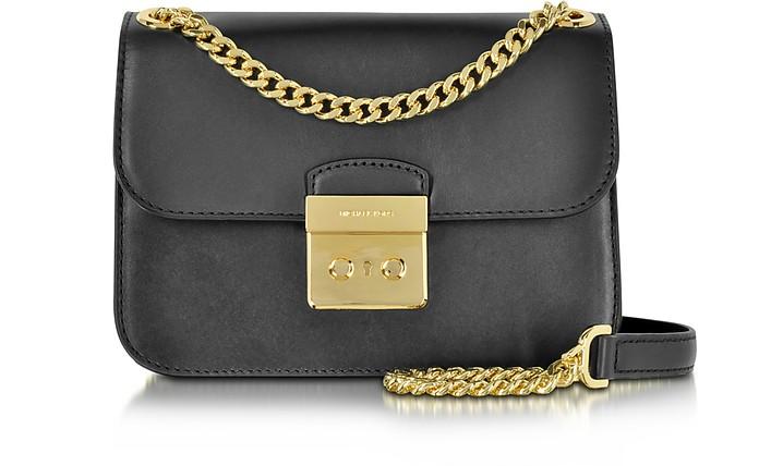 3550f32619e5 Michael Kors Sloan Editor Medium Black Leather Chain Shoulder Bag at ...