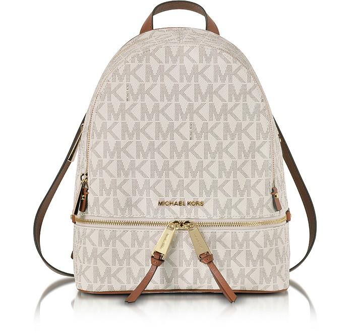 d75835b5d835 Rhea Zip Vanilla MK Signature Coated Twill Medium Backpack - Michael Kors