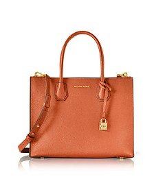 Mercer Large Orange Pebble Leather Convertible Tote Bag - Michael Kors