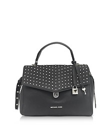 Bristol Black Studded Leather Top Handle Satchel Bag - Michael Kors
