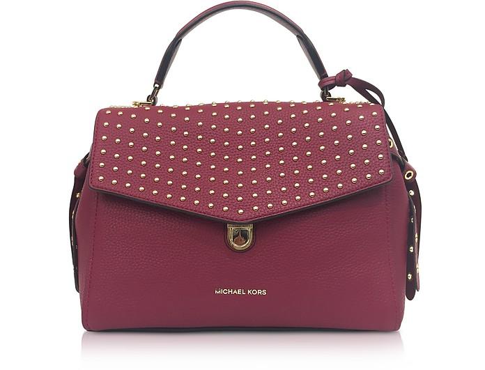6600bc8831ffc Michael Kors Bristol Mulberry Studded Leather Top Handle Satchel Bag ...