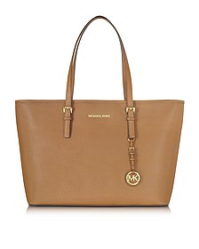 Jet Set Travel Medium Shopper con Zip in Pelle Saffiano Acorn - Michael Kors