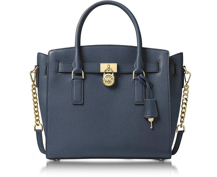 Michael Kors Hamilton Large Admiral Blue Pebbled Leather Satchel Bag ...