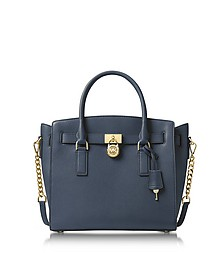 Hamilton Large Admiral Blue Pebbled Leather Satchel Bag - Michael Kors
