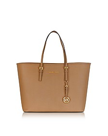 Jet Set Travel Top Zip Shopper in Pelle Saffiano Acorn - Michael Kors