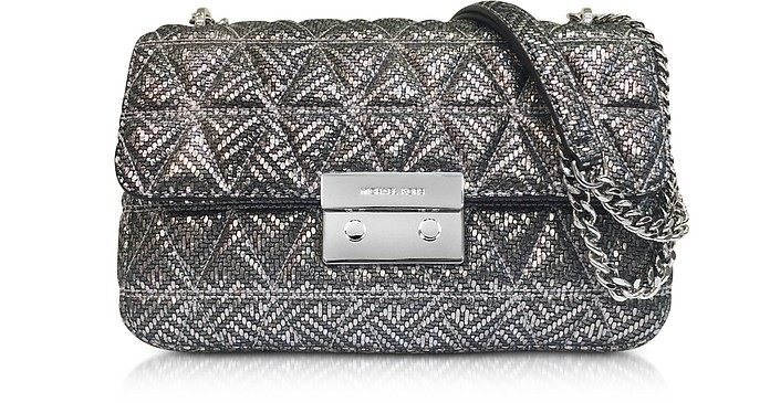246289e651302 Michael Kors Silver Quilted Leather Sloan Large Chain Shoulder Bag ...