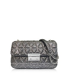 Silver Quilted Leather Sloan Large Chain Shoulder Bag - Michael Kors