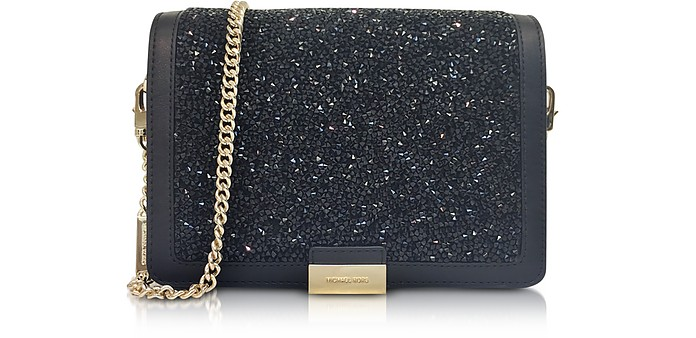 Jade Black Crystals and Leather Clutch - Michael Kors