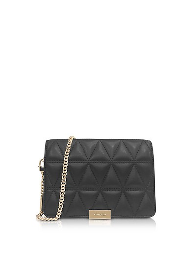 Jade Black Quilted-Leather Clutch - Michael Kors