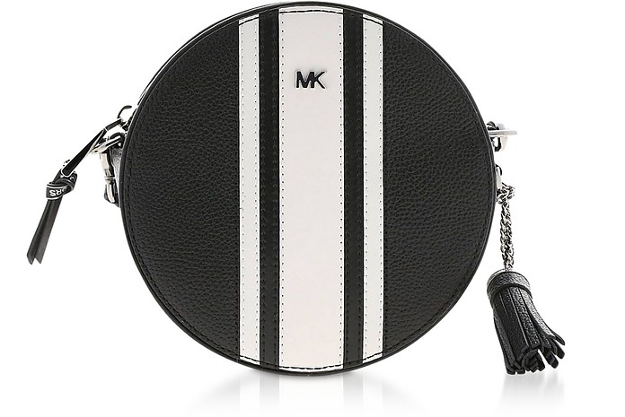 Black & Optic White Medium Canteen Crossbody Bag - Michael Kors
