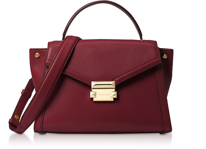 Oxblood Leather Whitney Medium Top-Handle Satchel Bag - Michael Kors