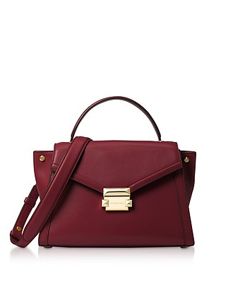 16357b2521b9 Oxblood Leather Whitney Medium Top-Handle Satchel Bag - Michael Kors