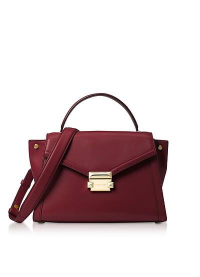 Oxblood Leather Whitney Medium Top-Handle Satchel Bag - Michael Kors