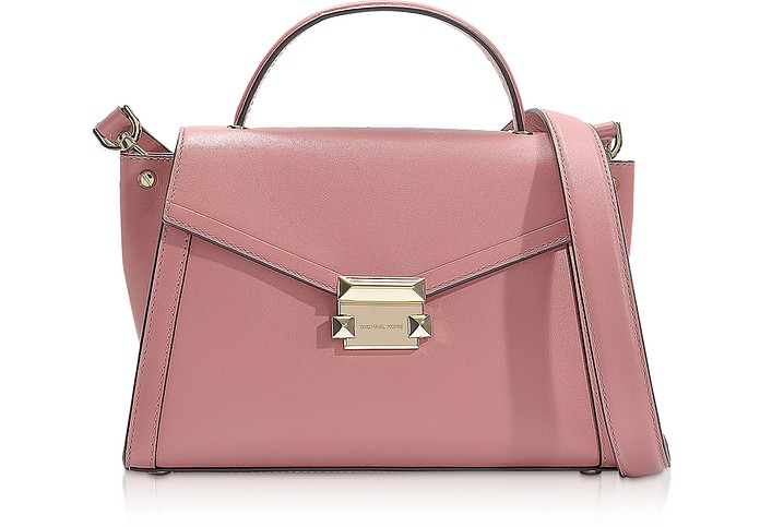 Rose Leather Whitney Medium Top-Handle Satchel Bag - Michael Kors