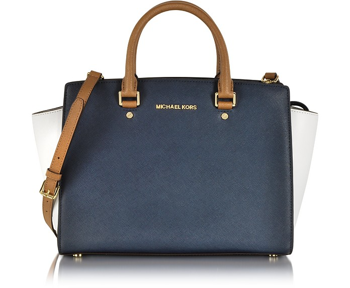 Selma Large Color-Block Leather Satchel
