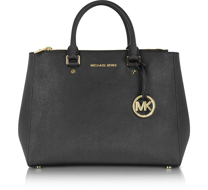 Black Saffiano Leather Large Sutton Satchel - Michael Kors