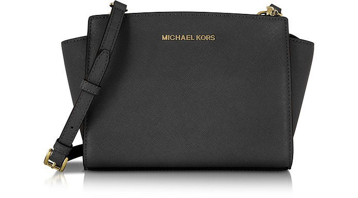Selma Medium Black Saffiano Leather Messenger - Michael Kors