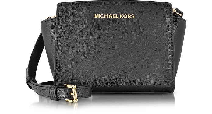 michael kors black saffiano leather selma mini messenger bag at rh au forzieri com michael kors crossbody bag black australia