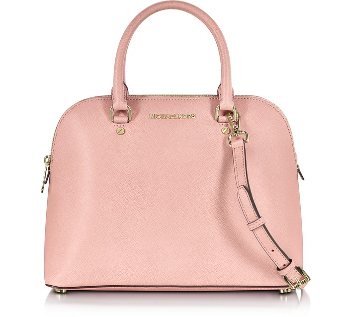 Michael Kors Pale Pink Cindy Large Saffiano Leather Dome Satchel Bag ... d166daae6501b