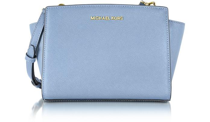 Mittelgroße Selma Messenger Tasche aus Saffianleder