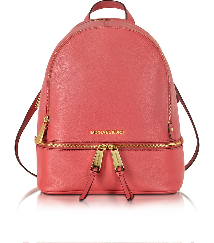 Rhea Zip Small Watermelon Leather Backpack - Michael Kors