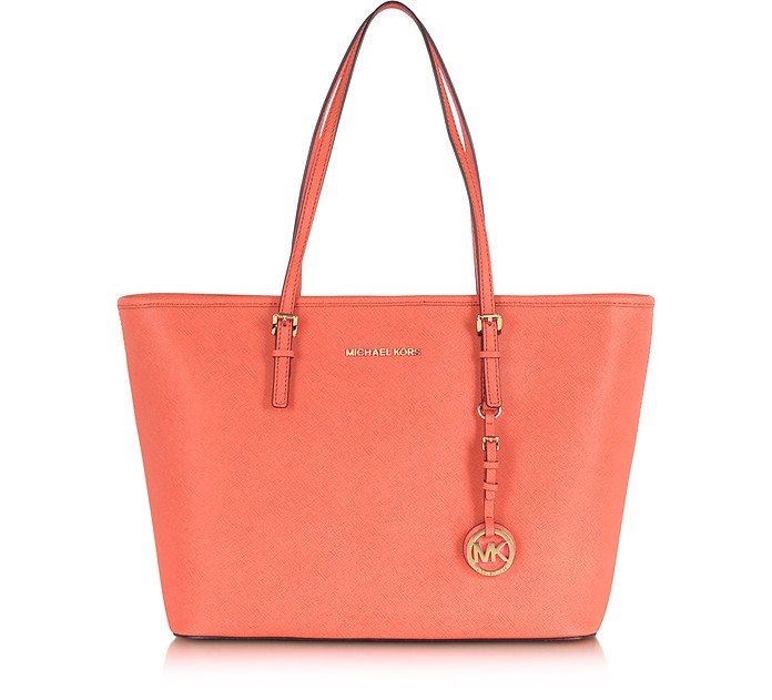Jet Set Travel Pink Grapefruit Saffiano Leather Top Zip Tote