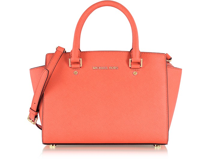 Selma Medium T/Zip Borsa a Mano in Pelle Saffiano Rosa Grapefruit - Michael Kors