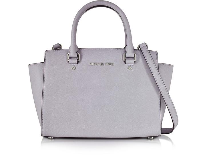 Medium Selma Lilac Saffiano Leather Top-Zip Satchel  - Michael Kors
