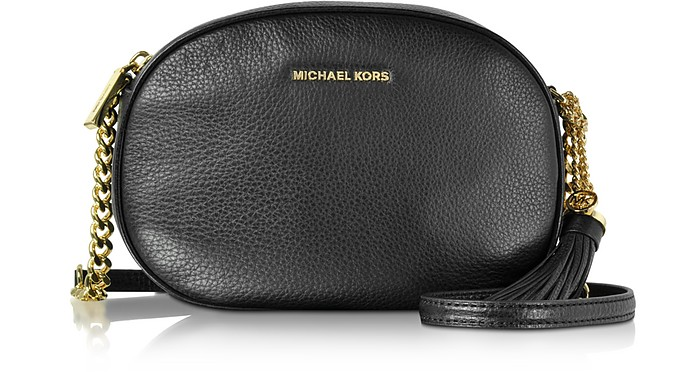 Ginny Black Pebble Leather Medium Messenger - Michael Kors