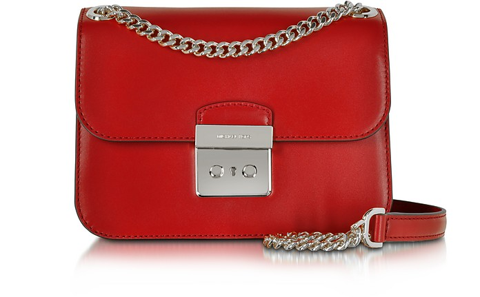 46cd84232050 Sloan Editor Medium Bright Red Leather Chain Shoulder Bag - Michael Kors