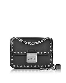 Sloan Editor Medium Black Leather Chain Shoulder Bag w/Studs - Michael Kors