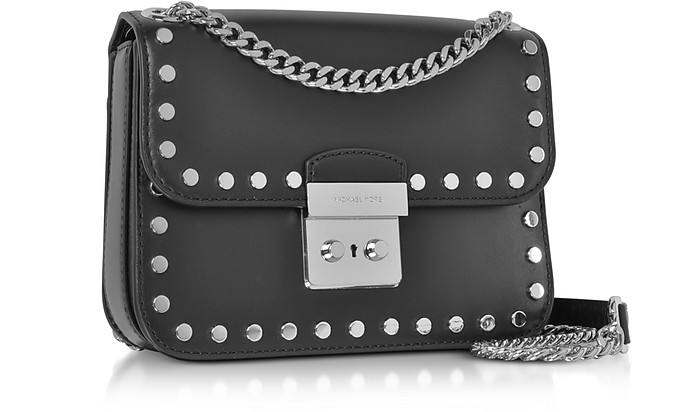 1719431aafa0 Sloan Editor Medium Black Leather Chain Shoulder Bag w Studs - Michael Kors.  Sold Out