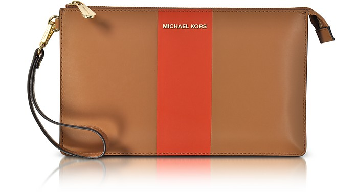 Acorn & Orange Large Daniela Center Stripe Leather Zip Clutch - Michael Kors