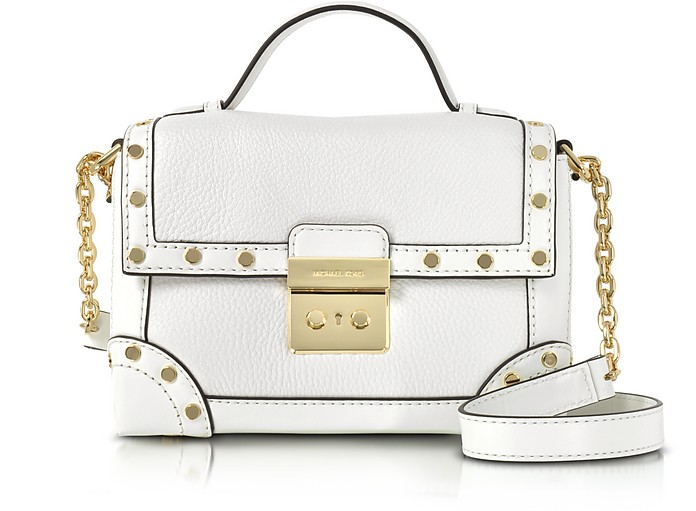 dfa526759495 Michael Kors Cori Optic White Pebble Leather Small Trunk Bag w Studs ...