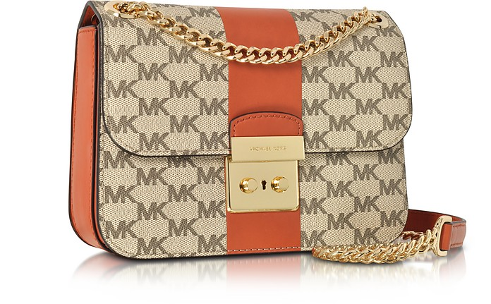 064b311792b Michael Kors Sloan Editor Medium Center Stripe and Heritage Signature Chain  Shoulder Bag at FORZIERI
