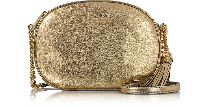 0559be188fab Michael Kors Ginny Pale Gold Pebble Leather Medium Messenger Bag at ...