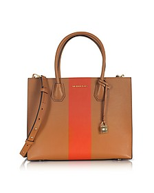 Mercer Large Acorn & Orange Center Stripe Leather Convertible Tote Bag - Michael Kors