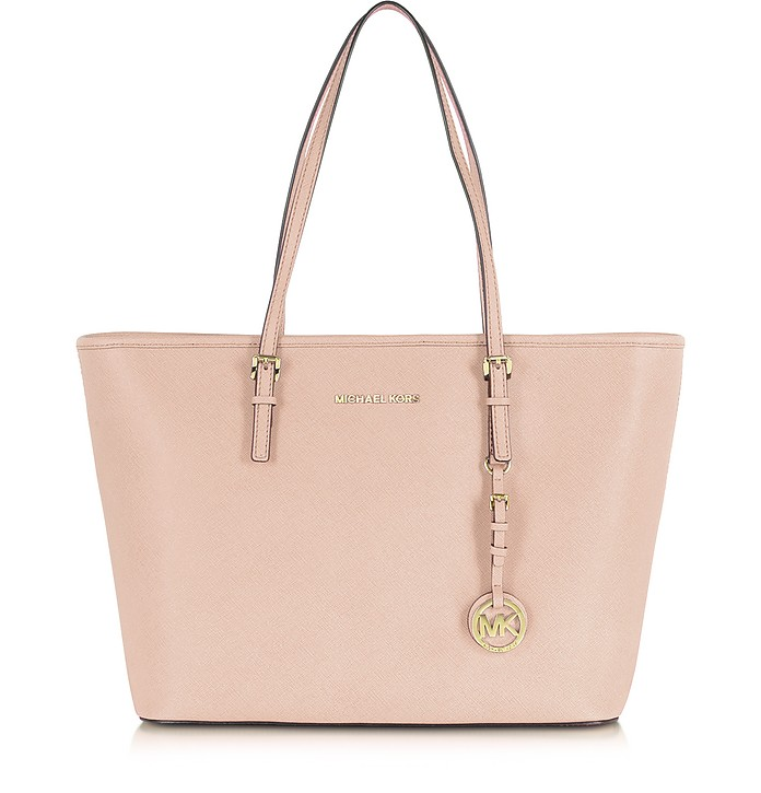 Jet Set Travel Soft Pink Saffiano Leather Top Zip Tote