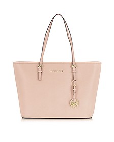 Jet Set Travel Soft Pink Saffiano Leather Top Zip Tote - Michael Kors