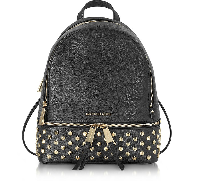 440949f5df Michael Kors Rhea Zip Black Leather Medium Backpack w Studs at ...