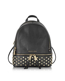 Rhea Zip Black Leather Medium Backpack w/Studs - Michael Kors
